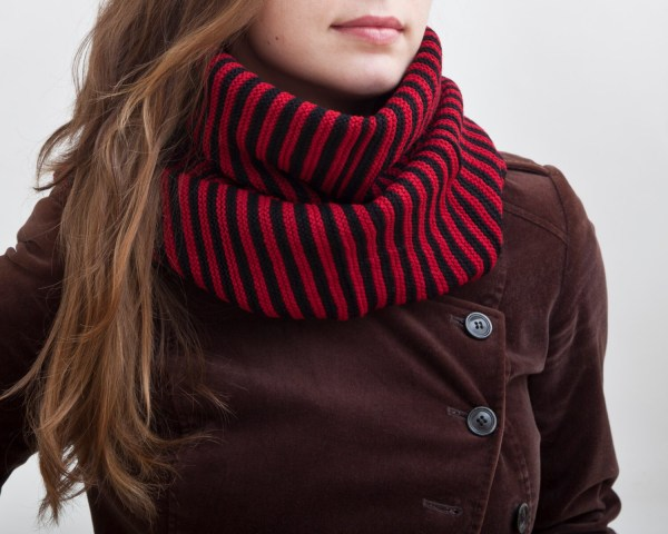 Striped Scarf Infinity Valentines Red