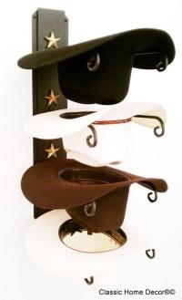 Cowboy Hat Holder Black with Gold Stars