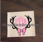 antler monogram with bow decal