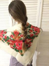 Vintage Ukrainian shawl Russian shawl Wool floral scarf