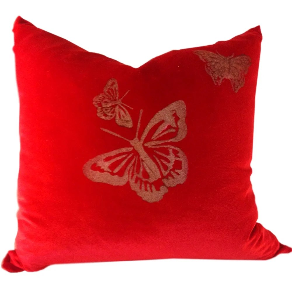 Red Velvet Pillow Cover with Gold and Butterfly for Throw