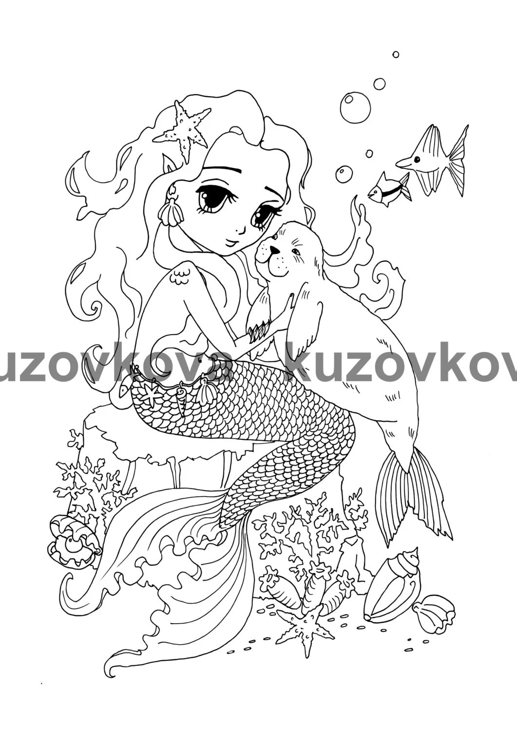 Coloring page The Mermaid and Sea cat by KuzovkovaArt on Etsy