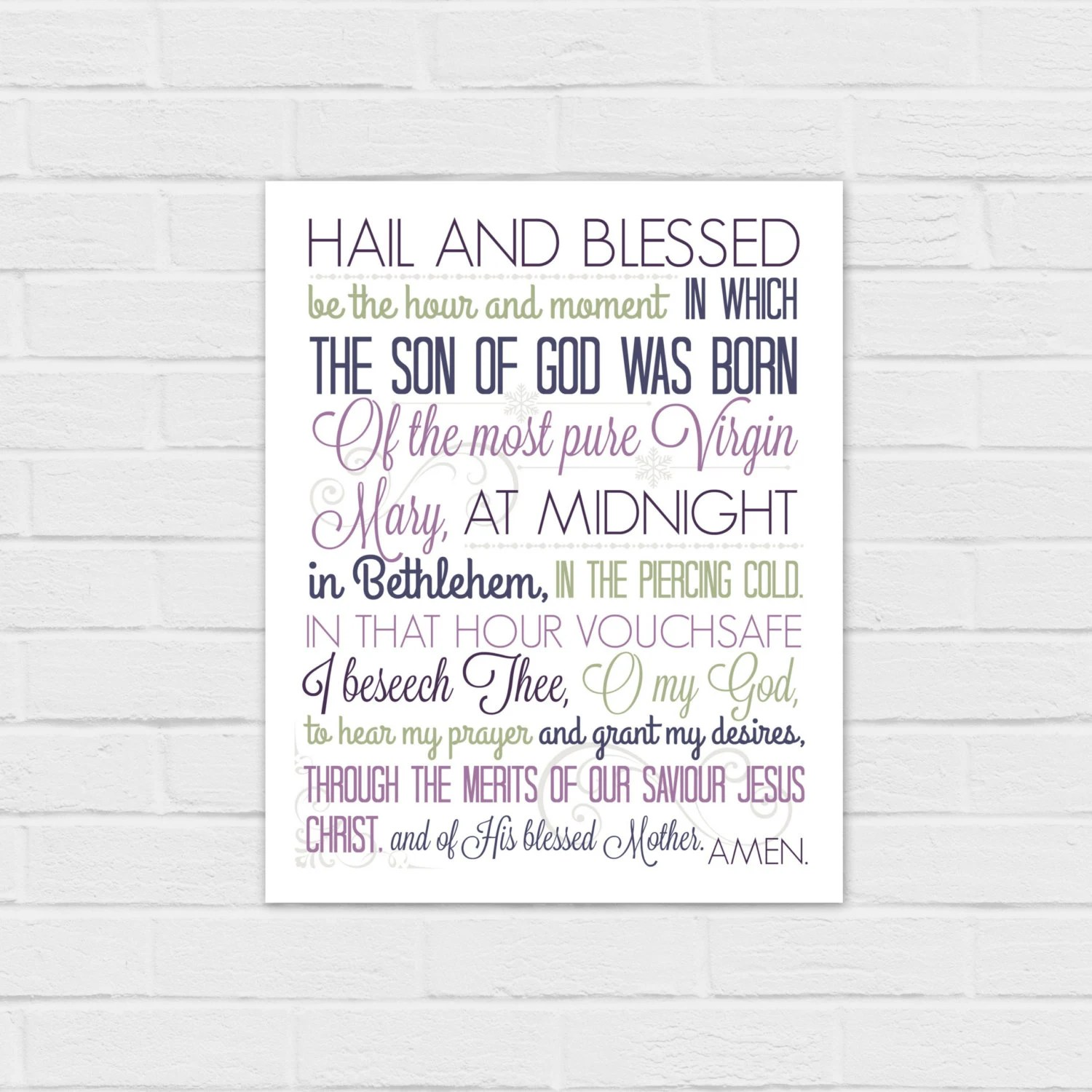 8x10 Christmas Anticipation Prayer In Purple By