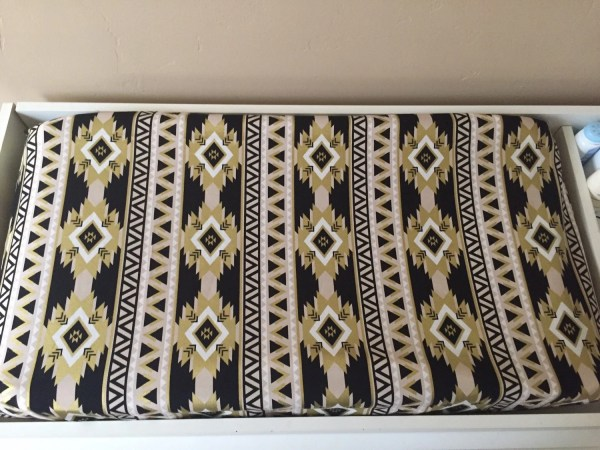 Aztec Gold And Black Changing Pad Cover White