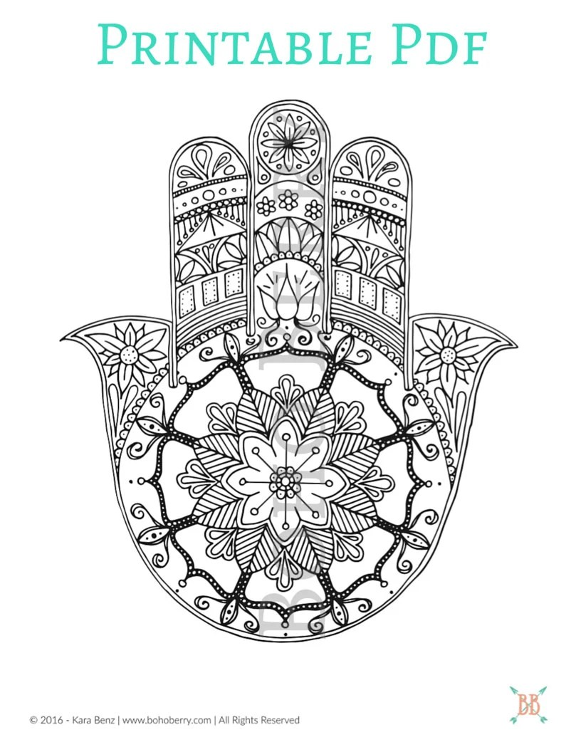 PRINTABLE Hamsa Coloring Page from BohoBerryPaperie on