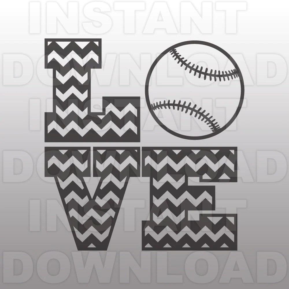 Download Love Baseball SVGChevron SVG FileCutting Template-Vector