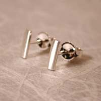 7mm x 2mm Brushed Stud Earrings Sterling Silver Bar Studs by