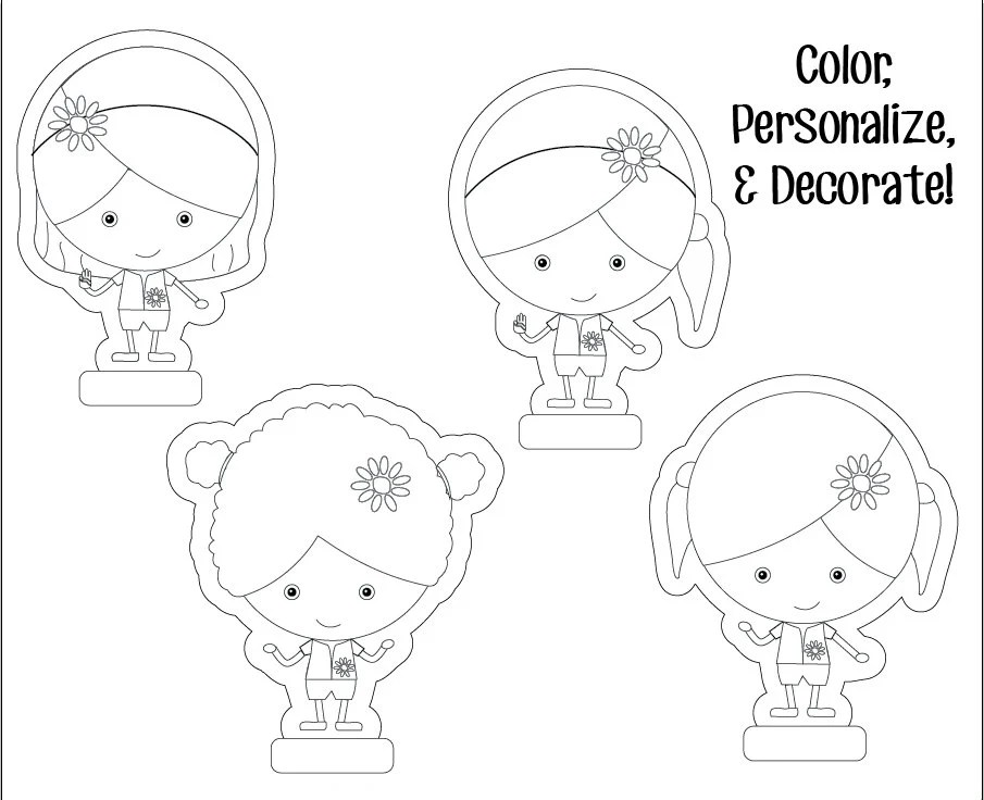 Daisy Girl Scouts Paper Dolls Printable Instant Download