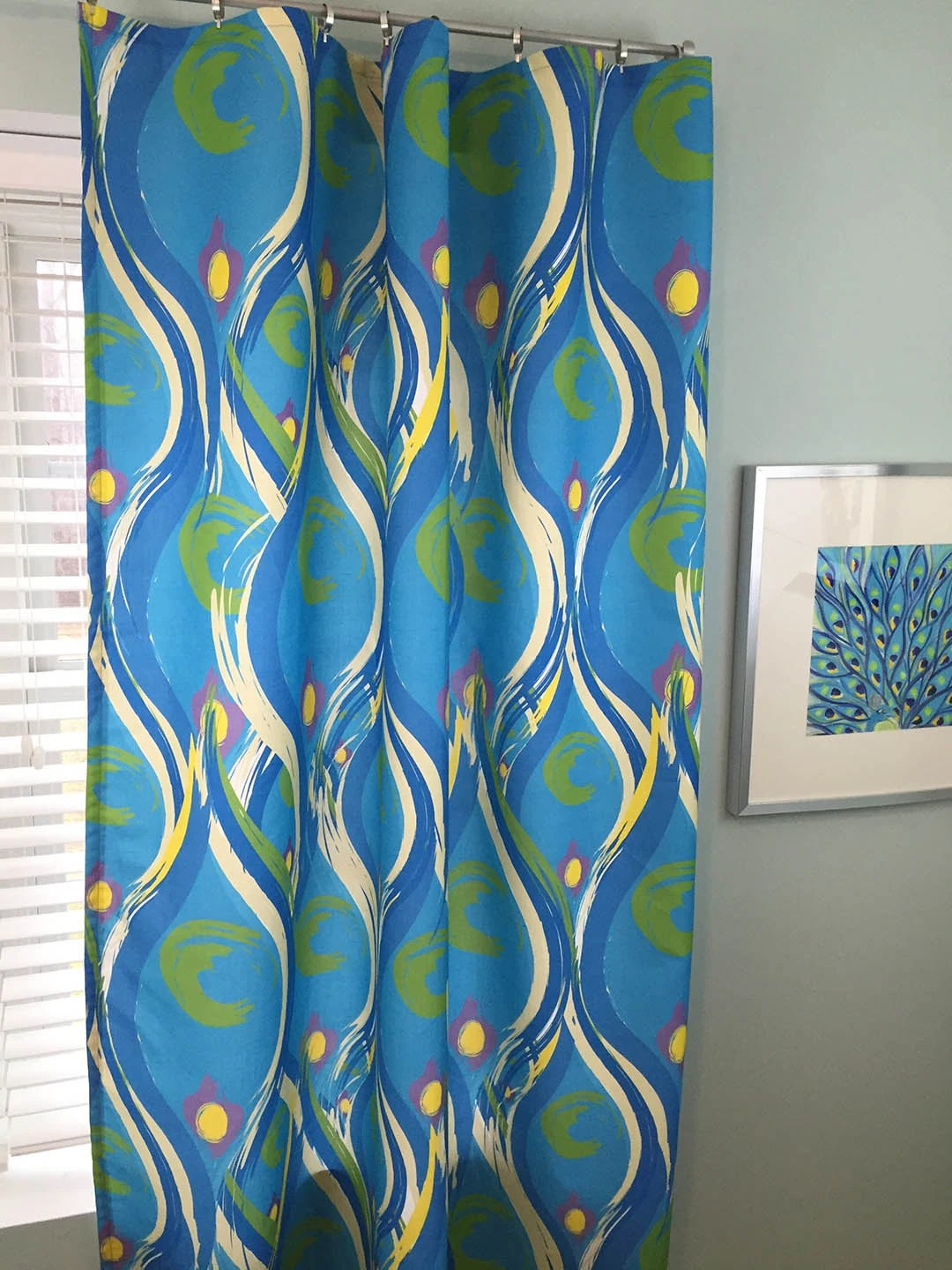 Turquoise Curtain Royal Turquoise Yellow By Paisleyladydesigns