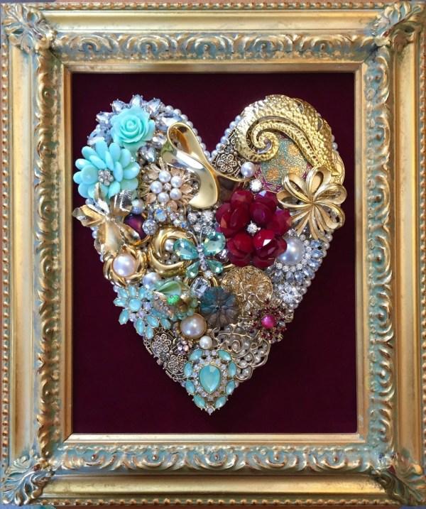 Beautiful Vintage Jewelry Framed Art Upcycledassemblage