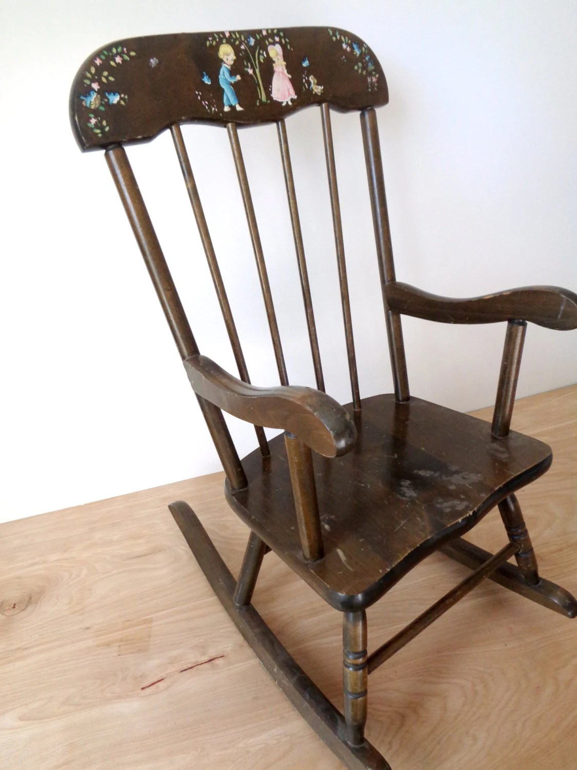 kids wood rocking chair outdoor table and chairs vintage dark children 39s mid century