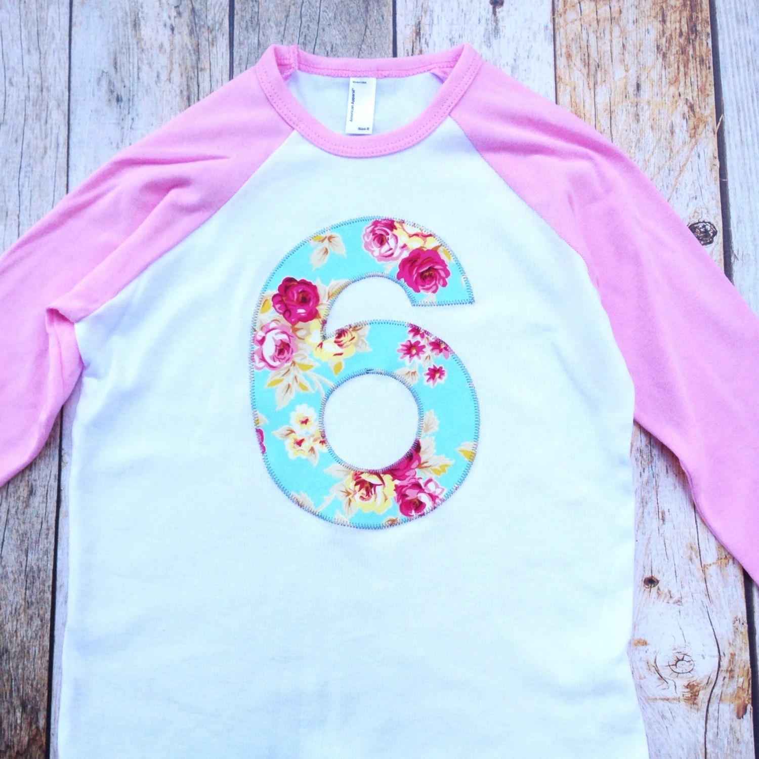 Girls 6th Birthday Shirt For 6 Year Old Aqua Teal Turquoise