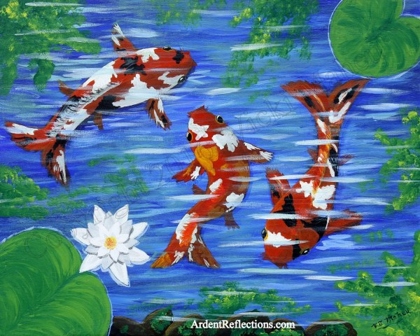 Japanese Koi Fish Pond Painting