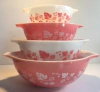 Vintage Pyrex PINK Gooseberry Cinderella Mixing Bowl Set