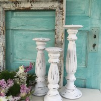 White Distressed Candle Holders Shabby Chic Tall French