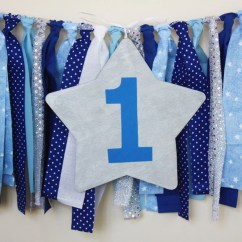 High Chair Decorations 1st Birthday Boy Wheelchair Football Blue Navy Twinkle Little Star Highchair Banner