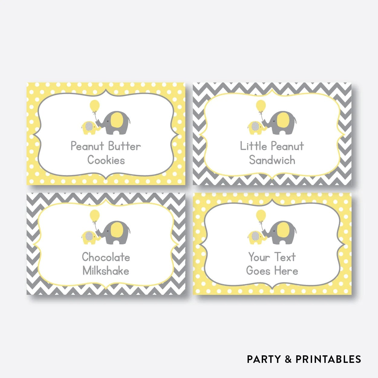 Instant Download Editable Elephant Food Labels Yellow Elephant Baby Shower Food Labels