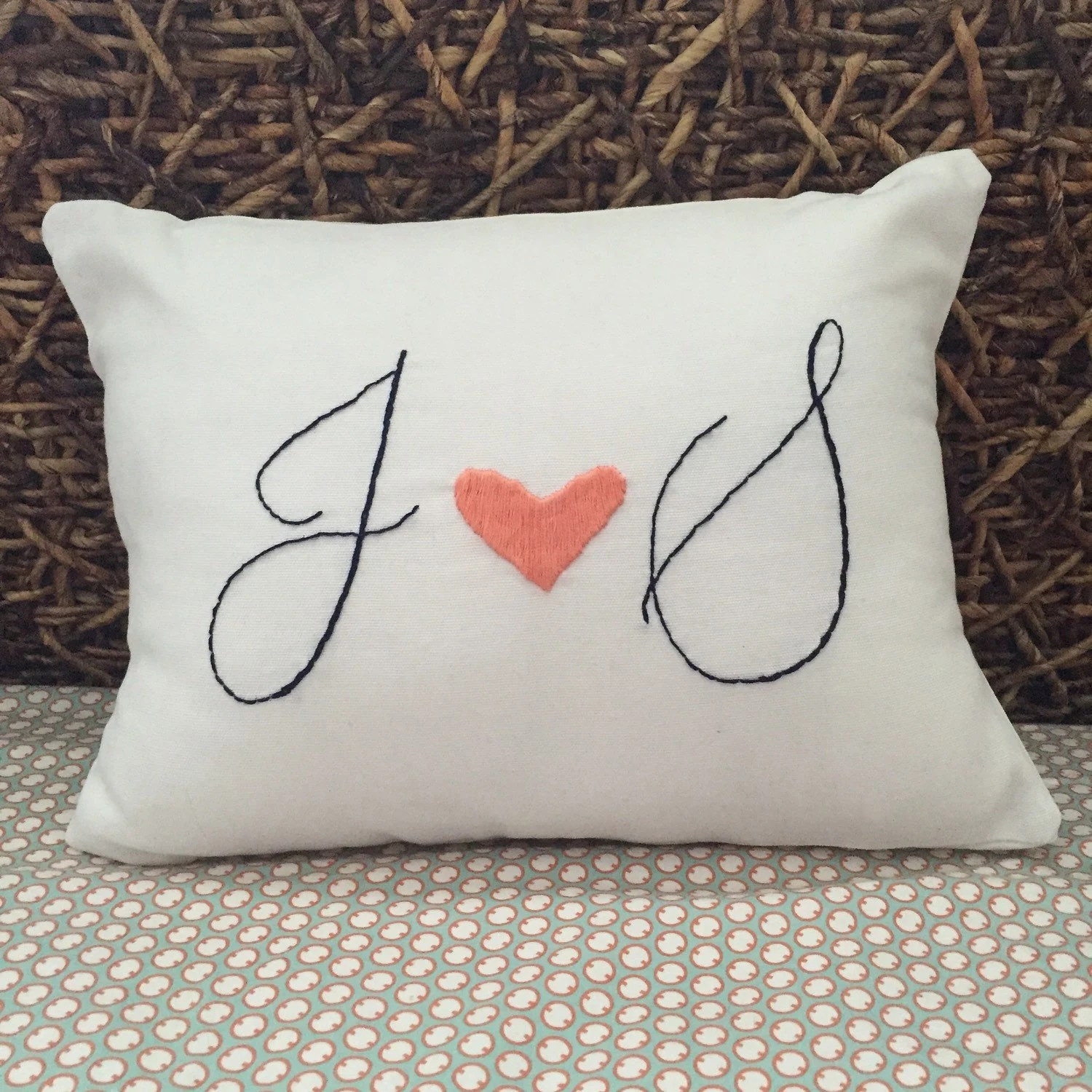 Personalized Pillow Cover Embroidered Pillow Custom by HookAndHoop