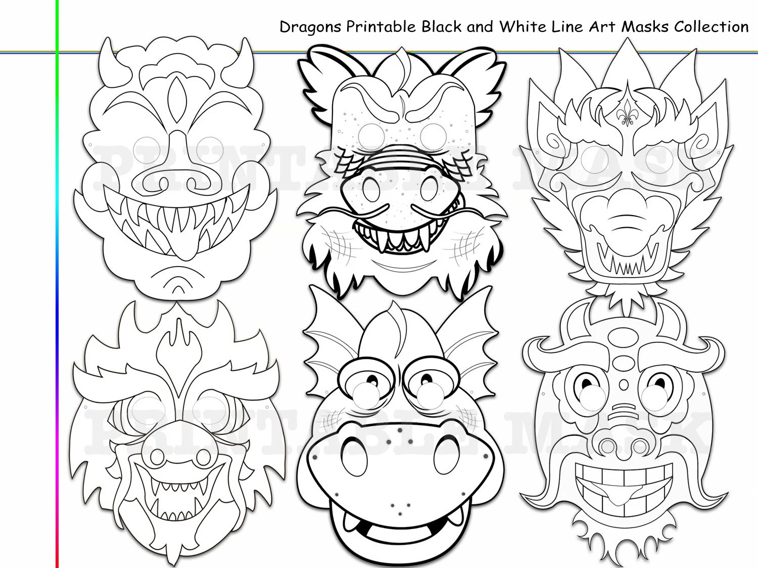 Unique Dragons Printable Black and White Line Art Masks kid