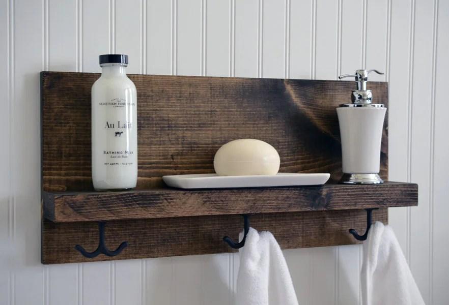 Bathroom Shelf With Metal Hooks Towel Bar Modern Rustic