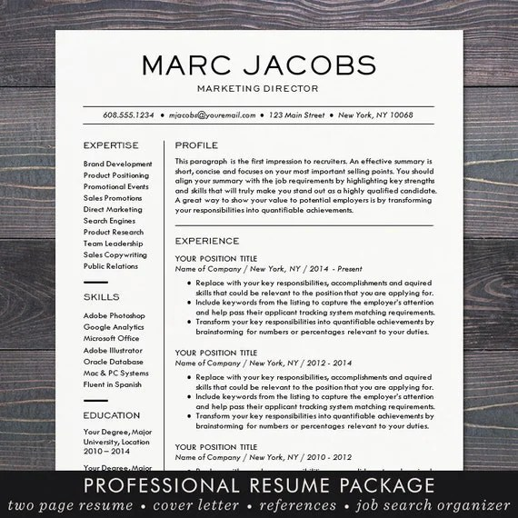 Modern Resume Template CV Template For Word Mac Or PC