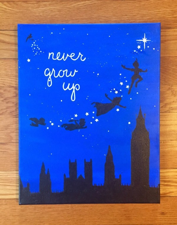 Grow Quote Peter Pan Silhouette Handmade Disney