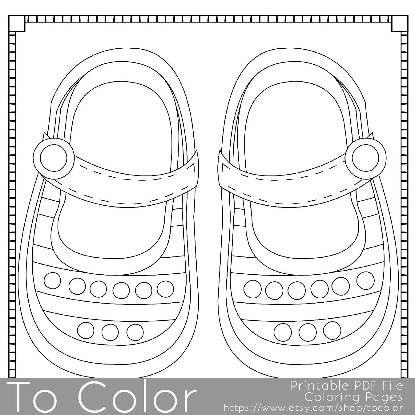 Baby Shoes Printable Coloring Pages for Adults Baby by ToColor