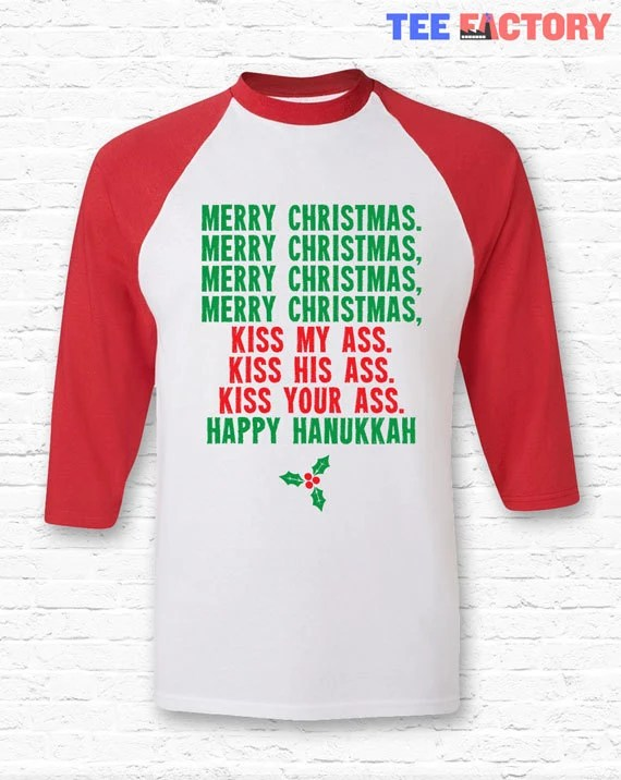 Merry Christmas Kiss My Ass Vacation Movie Quote Raglan