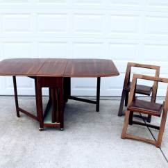 Gateleg Table With Chairs Stackable Metal Drop Leaf Dining 4 Storable Set