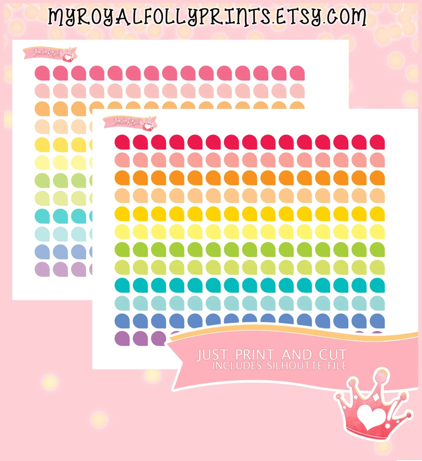 Rainbow Dots Pastels Printable Planner Stickers Planner