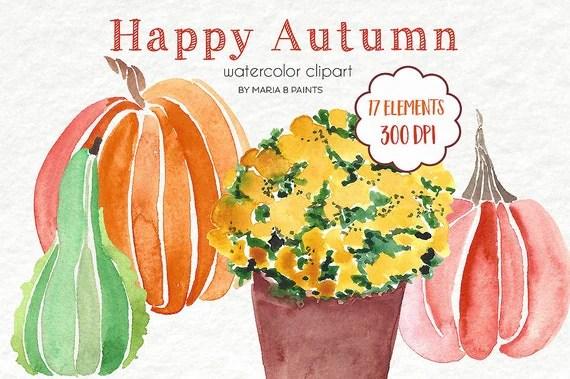 watercolor clip art pumpkins mums-personal
