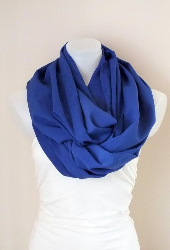 Royal blue infinity scarf Crown blue scarf Loop scarf Circle