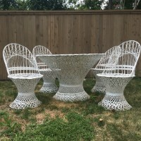Russell woodard outdoor patio spun fiberglass wicker furniture