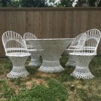 Russell woodard outdoor patio spun fiberglass wicker furniture