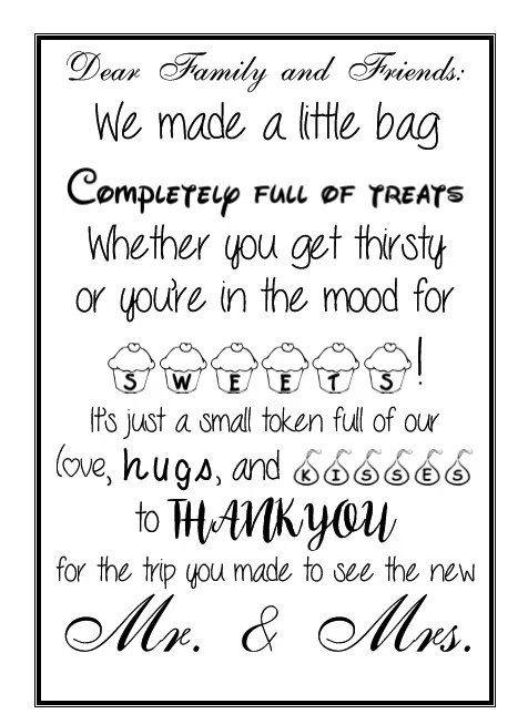 Welcome Bag Thank You Note Printable