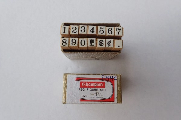 Number Wooden Rubber Stamp Set. Small Size 4 Numbers