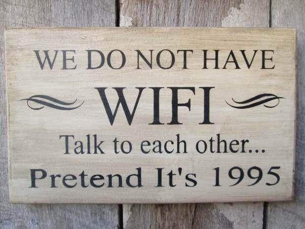 Primitive Wood Sign Wifi Talk