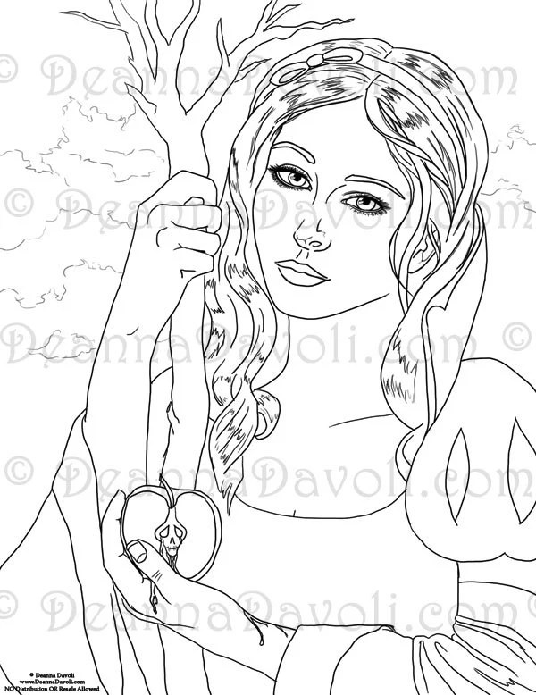 Snow White Coloring Page Adult Coloring Page Printable JPG