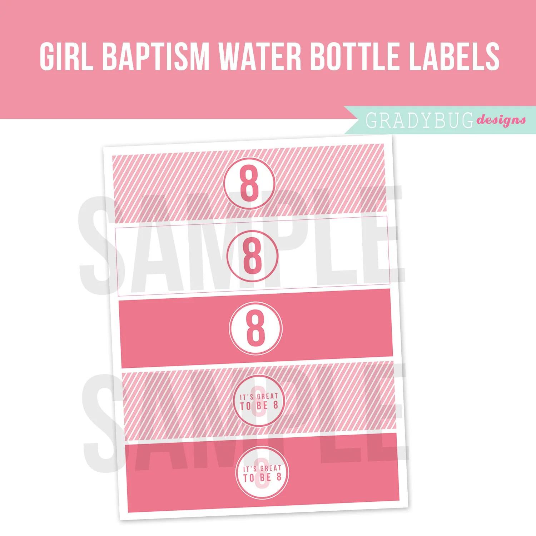 Lds Girl Baptism Water Bottle Labels Printable Drink Wrappers