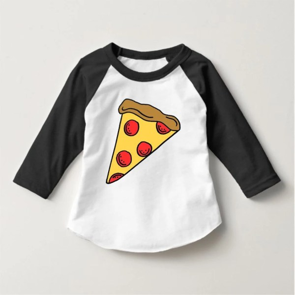 Toddler Kids Pizza Slice Raglan Shirt Tee Jaimeknight