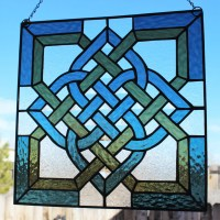 CELTIC STAINED GLASS Window Panel Suncatcher Celtic Knot