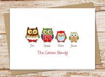 OWL FAMILY personalized stationery . owls stationary . folded