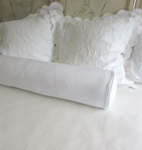 Items similar to WHITE linen extra long bolster Pillow ...