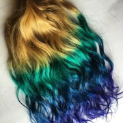 rainbow 4 color ombre hair extensions