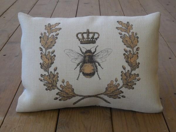 Queen Bee Burlap Pillow