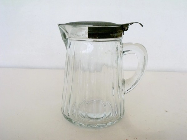Antique Ribbed Glass Pitcher Hoosier Cabinet Steel Spring Lid