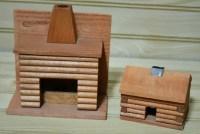 Vintage Wooden Log Cabin Fireplace Incense Burner