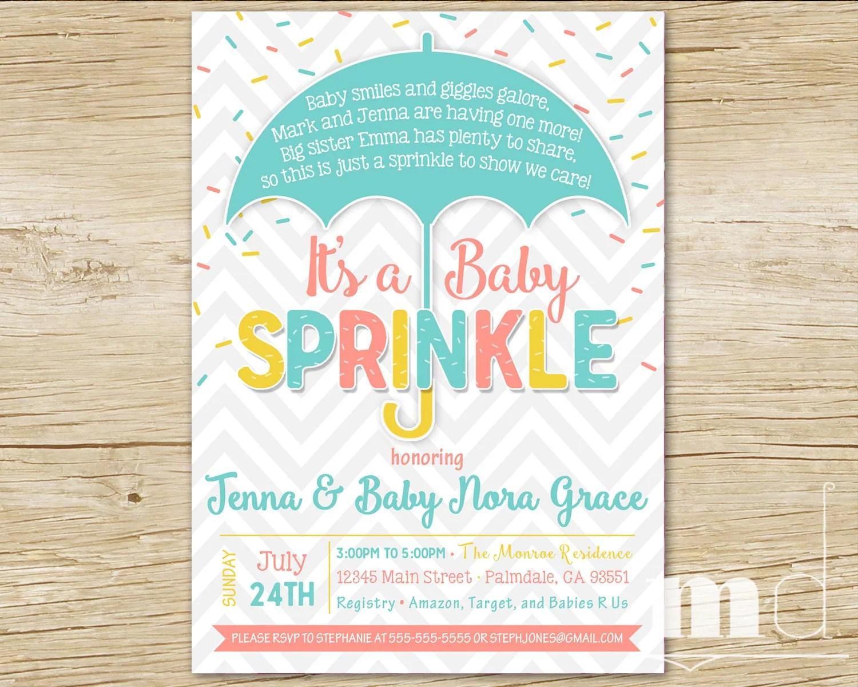 Sprinkle Baby Shower Invitation Baby Sprinkle Shower Party