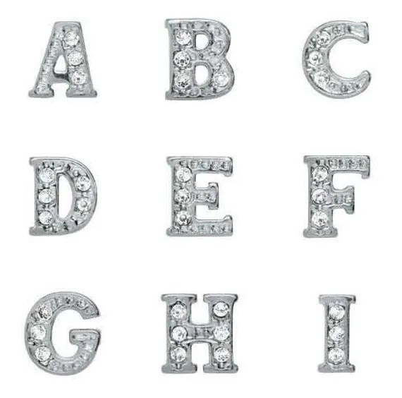 Rhinestone Crystal Initial Alphabet Letter Floating Locket