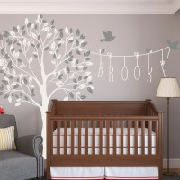 Nursery Tree Name Wall Decals With Birds Wall Decal Kids Wall
